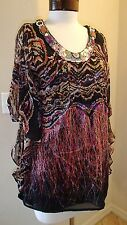 NWOT Meghan Floral Beaded Ruffled Sequin 100% Silk Tunic Blouse Sz Womens 0