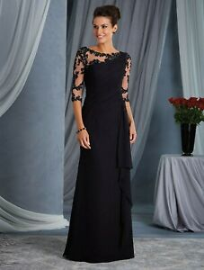 NWT Size 6 Black/Illusion net chiffon long formal 3/4 sleeve evening gown