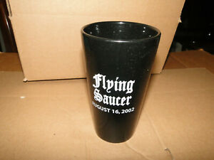 Flying Saucer August, 16 2002 Black Glass Cup/Mug 25th anniversary Cher Elvis