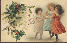 Early Christmas Postcard Girls Dancing Brundage Ellen Andrews Chromolith Germany
