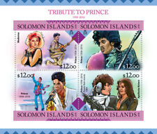 Solomon Isl Music Stamps 2016 MNH Tribute to Prince Madonna Purple Rain 4v M/S