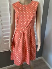 Liz Claiborne Coral White Polka Dots Classic Dress Women's Size 12 Pleated