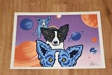 George Rodrigue Blue Dog Tiffanys Universe Split Font Silkscreen Print Signed
