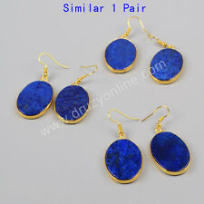 Similar 1 Pair Gold Plated Oval Lapis Lazuli Slice Dangle Earrings AG0999