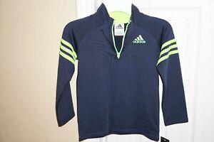 Adidas Kids Boys Navy / Green Long Sleeves Quarter-Zip Pullover Jacket