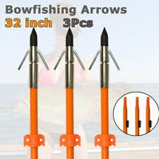 "3pcs 32"" Bowfishing Arrows Fishing Hunting Arrowheads With Safety Slide Powerful"