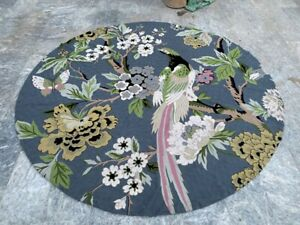Vintage Handmade Aubusson Round Rug Needle Point Pictorial Wool Kilim Area Rug