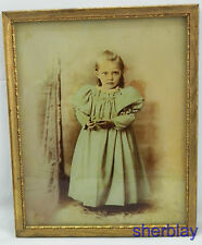 Antique Vintage Original Reverse Painting On Glass Art Picture Wooden Frame GIRL