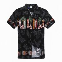 Men Aloha Shirt Cruise Tropical Luau Beach Hawaiian Party Black Surf Boards Palm