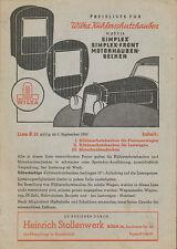 Wilka Kühlerschutzhauben Preisliste 1.9.50 1950 Zubehör Preise price list
