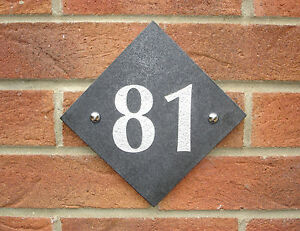 House Number Sign, Slate Grey Granite, Door Plaque