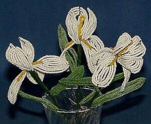 Seed Beads Clearance Beaded Baby/'s Breath Green and White Floral Bouquet 30 sprigs Home Decor French Beaded Flowers Fake Flowers