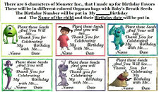 "24 Birthday Seed Favors ""Monster Inc.Theme"" U Choose Seeds + Bags + Name + Date"
