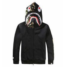 Bape A Bathing Ape Jacket SHARK Head Camo FULL ZIP HOODIE Long Sleeve Coat HOT