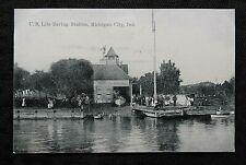 c1910 US COAST GUARD LIFE SAVING STATION MICHIGAN CITY IN INDIANA RPPC POSTCARD