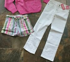 NWT Sz 9 Gymboree DAISY DELIGHTFUL Pink Green Striped Shorts Basic White Jeans