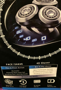 Electric Shaver Triple Blade With Trimmer 4D Washable Rechargeable Led Screen