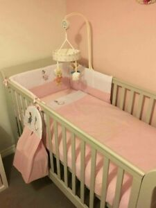Peter Rabbit Nursery Package. Cot set, nappy stacker,cushion,Fleece Blanket pink