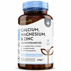 Calcium Magnesium Zinc & Vitamin D3 - 365 Tablets - Healthy Bones, Teeth, Muscle