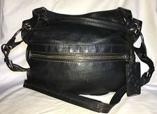 ORYANY Black Leather SYDNEY Large Convertible Hobo Handbag Purse Bag-NICE