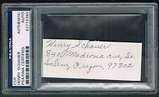 Henry Schauer (d. 1997) signed autograph 1x3.5 cut MOH Army WWII PSA Slabbed