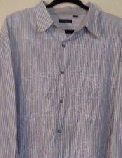 J. FERRAR Men EMBROIDERED Button Down Cotton Floral Striped 3 XLT