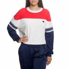 CHAMPION Women's Exaggerated Sleeve Pullover Top XL X-Large Off White Red Blue