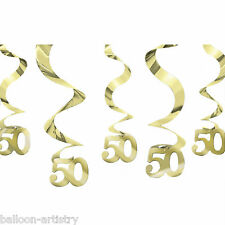 "5 Happy 50th Gold Golden Anniversary Party 24"" Hanging Foil Swirls Decorations"