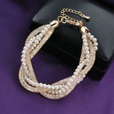 Gold Plated Pearls Crystals Sparkly Charm Women Jewelry Fashion Bangle Bracelet