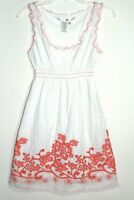 MAX STUDIO Emrbroidered Sundress in Lined Cotton Crepe with Red Detail. Sz M