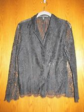 Linda Allard for Ellen Tracy Black Lace Button-front Blouse - 10P