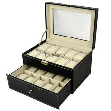 20 Watch Holder Leather Box Glass Top Display Jewelry Storage Case Black LB6Y