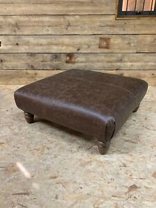 Alexander James Artisan footstool ottoman bench tan brown leather oak leg rustic
