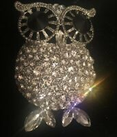 Costume Jewellery Large Crystal Silver Tone Owl Brooch
