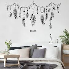 Black Boho Feathers Removable Vinyl Living room bedroom Art Wall Stickers Murals