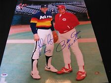Pete Rose Reds Nolan Ryan Astros Signed 16x20 Photo K King Hit King PSA