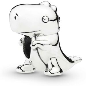 New Pandora Silver Sterling Charm  Dino Dinosaur & Pouch S925 ALE 798123