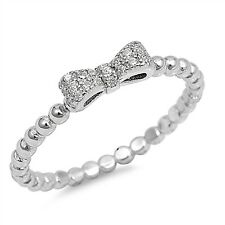 Sterling Silver 925 LADIES BOW WITH BEADS DESIGN CLEAR CZ RING 4MM SIZES 4-10