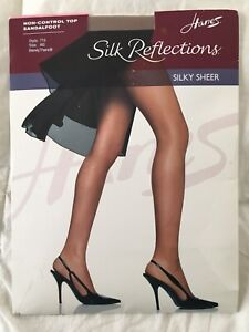 Hanes Silk Reflections Pantyhose Non Control Top Sandalfoot Sz AB BarelyThere