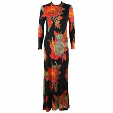 c.1960's Black Multicolor Boho Knit Floral Print Long Sleeve Evening Maxi Dress