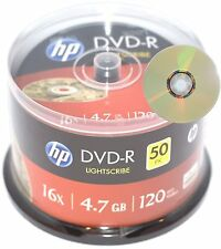 50 X HP lightscrirbe DVD-R - 4.7GB 120 minutos 16x en Blanco Imprimible disco grabables