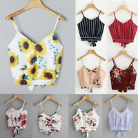 Women's Sexy Lady V Neck Floral Tank Tops Vest Crop Cami Shirts Camisole Blouse