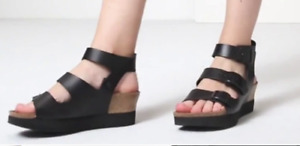 Birkenstock Papillio Linnea Natural Leather Black Sandals Sz 42, 11 US Sold Out