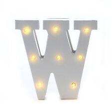 """LED Buchstabe """"W"""" mit Beleuchtung Geburtstagsdeko Batteriebetrieben Alphabet ABC"""