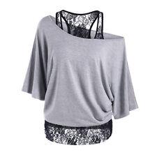 Donna Maglia Taglie Forti Pizzo Larga Casual Manica Lunga a pipistrello camicia