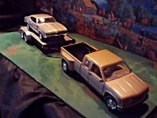 1:24 Scale Diecast(3 pc.Set) Gold 96 Chevy C/K Pickup,'68 Olds 442 + Car trailer