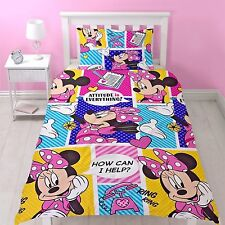 Ensemble housse de couette lit simple Disney Minnie Mouse attitude Rose Pourpre