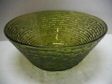 """Vtg Soreno Bowl Salad Avocado Green Serve 8-1/2"""" Glass Anchor Hocking Lot A EUC"""
