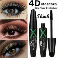 Black 4D Silk Fiber False Lash Mascara Waterproof Eyelash Extension Volume UK