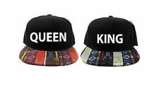 King and Queen Snapback Hat Black and White with Blue Pink Tan Aztec One Size